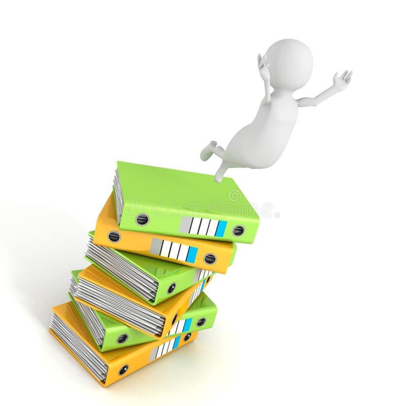 человек 3d скачет вверх от стога связывателей документов офиса бесплатная иллюстрация