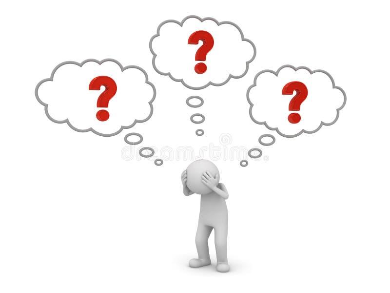 человек 3d стоя и думая с красными вопросительными знаками в мысли клокочет над его головной концепцией иллюстрация вектора