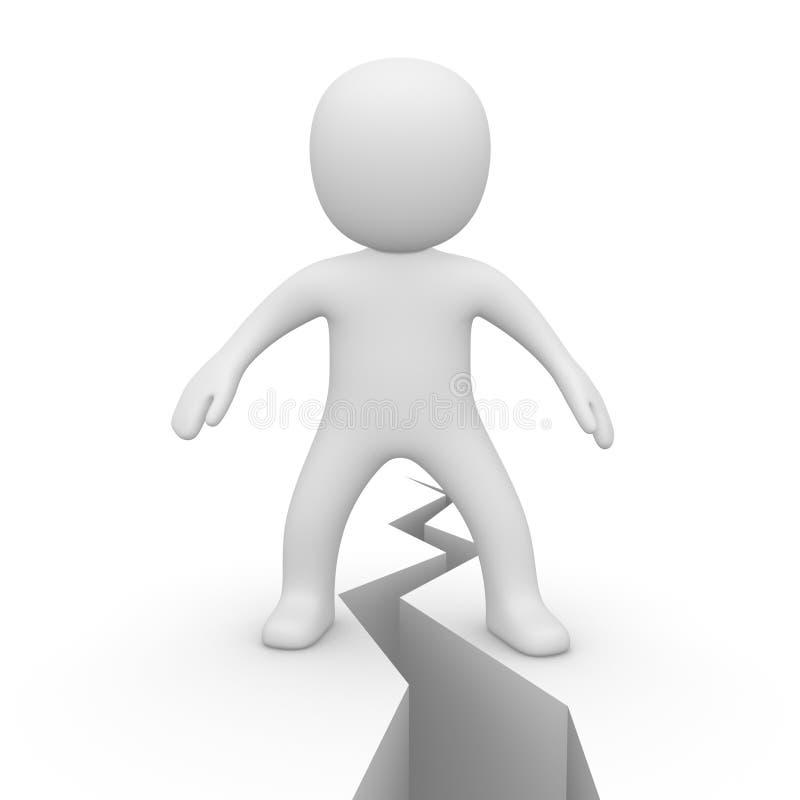 человек 3d стоя на расселине бесплатная иллюстрация