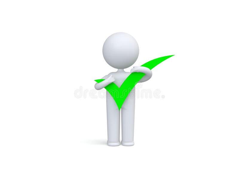 человек 3d с большим положительным символом в руках бесплатная иллюстрация