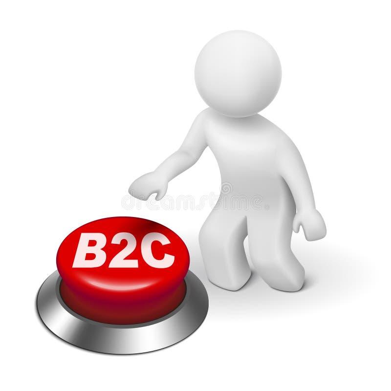 человек 3d с кнопкой b2c (дела к потребителю) бесплатная иллюстрация