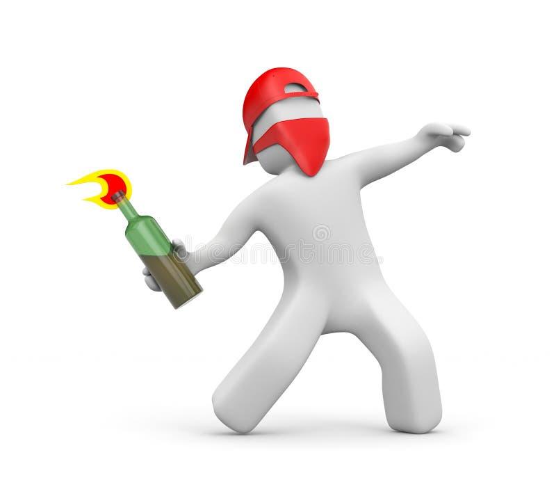 человек 3D с коктейлем Молотоваа в маске и крышке - бунтах, протесте улицы иллюстрация вектора