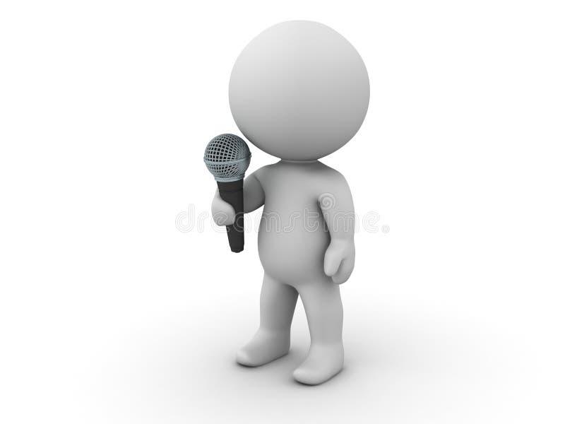 человек 3D с микрофоном иллюстрация вектора
