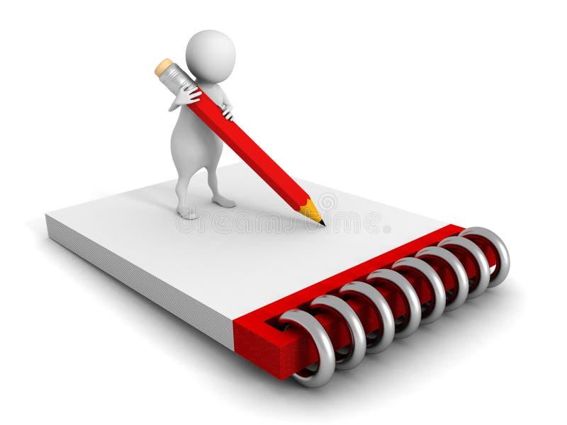 человек 3d с доской сзажимом для бумаги и карандашем на белой предпосылке бесплатная иллюстрация