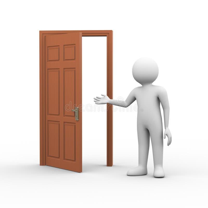 человек 3d с открыть дверью иллюстрация вектора