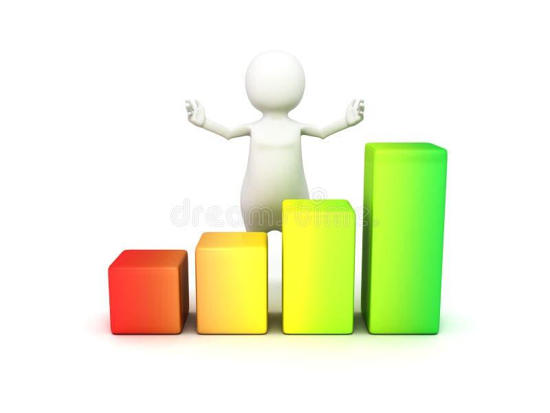 человек 3d с финансовой диаграммой белизна успеха дела изолированная принципиальной схемой иллюстрация штока