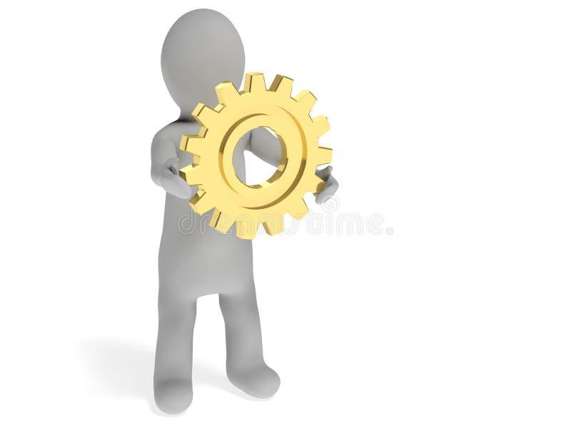 человек 3d с шестерней бесплатная иллюстрация