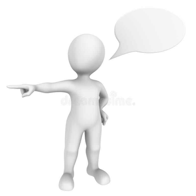 человек 3d указывая палец в сторону с пузырем речи иллюстрация вектора