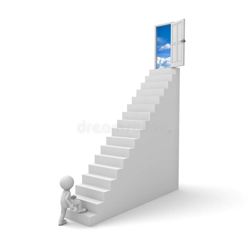 человек 3d шагая до открыть двери к небу иллюстрация вектора