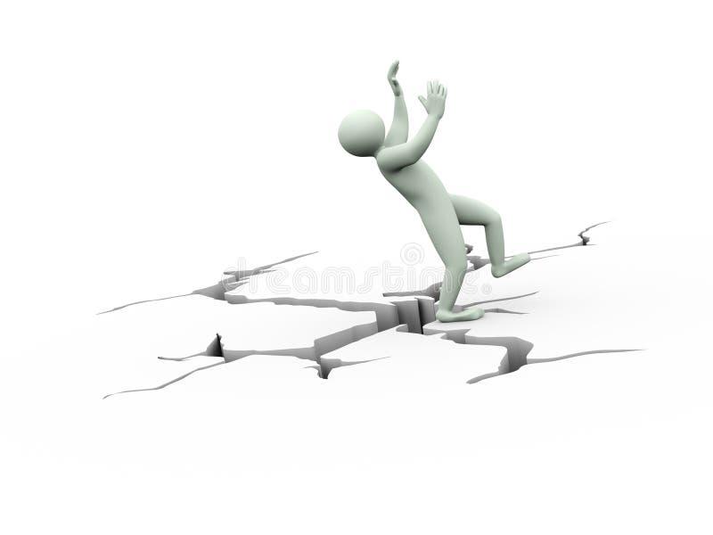 человек disbalance 3d на треснутой земле иллюстрация вектора