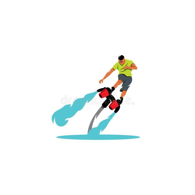 Человек Flyboarding также вектор иллюстрации притяжки corel иллюстрация штока