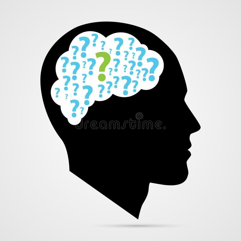 Человеческая голова с вопросительными знаками также вектор иллюстрации притяжки corel иллюстрация штока