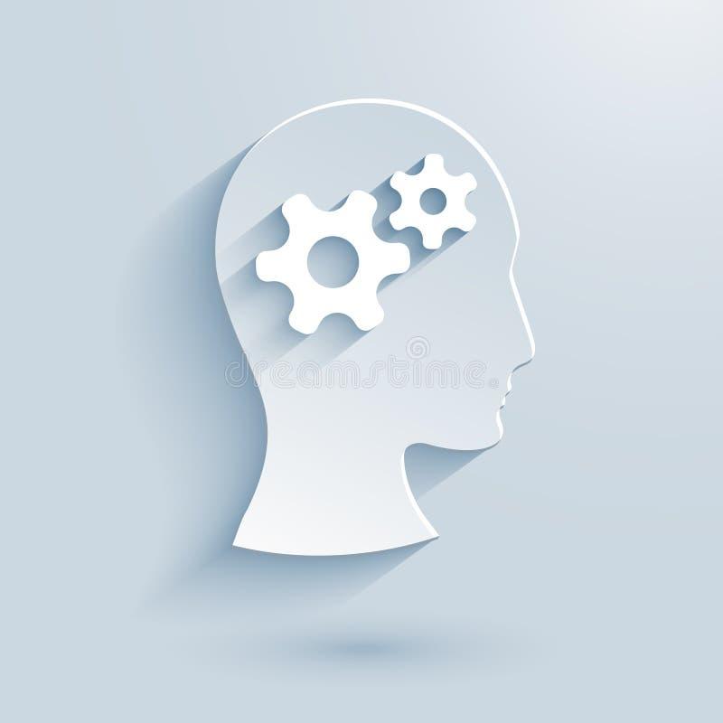 Человеческая голова с значком шестерней бумажным иллюстрация штока