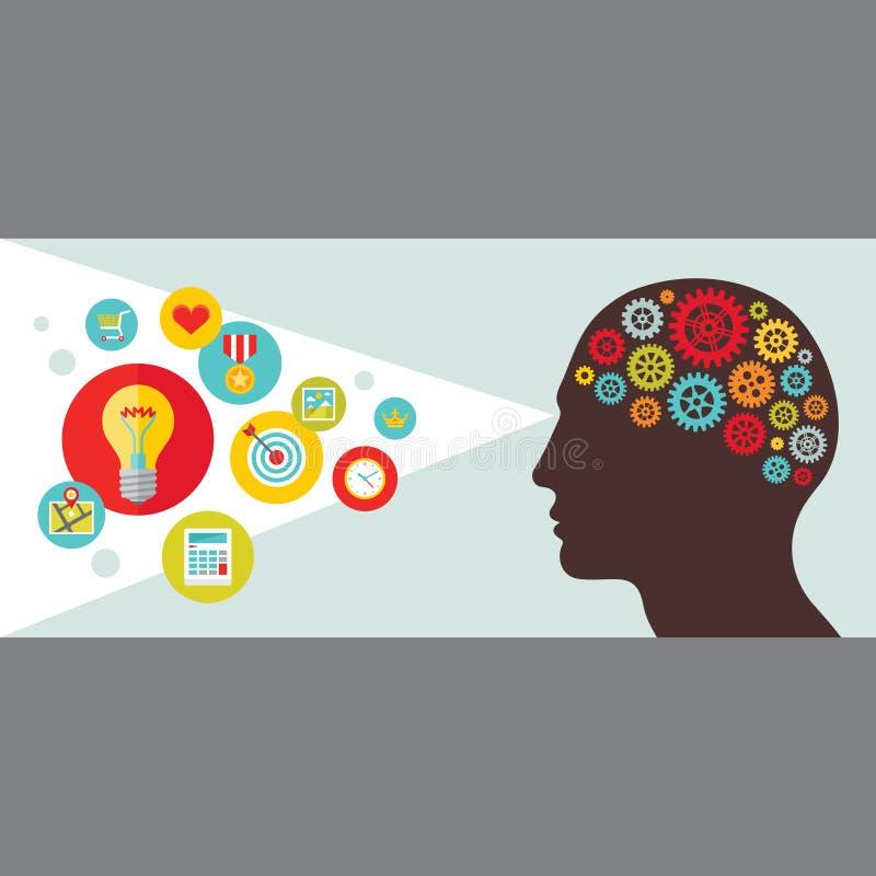Человеческая голова с иллюстрацией вектора шестерней Человеческая иллюстрация концепции визирования с значками в плоском стиле иллюстрация вектора