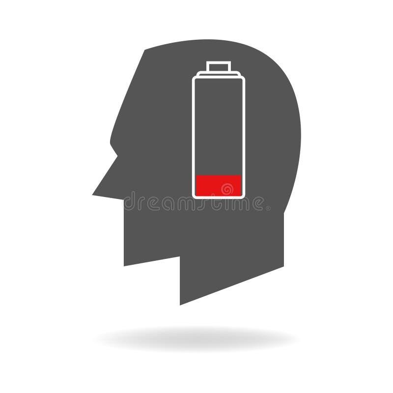 Человеческая голова с пустым индикатором батареи иллюстрация штока