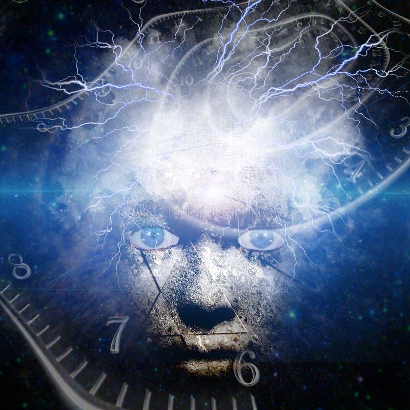 Человеческая маска с пропуская временем иллюстрация вектора