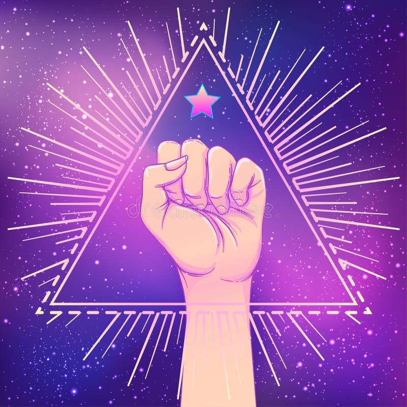 Человеческая рука подняла вверх над формой треугольника с лучами Символ fi иллюстрация вектора