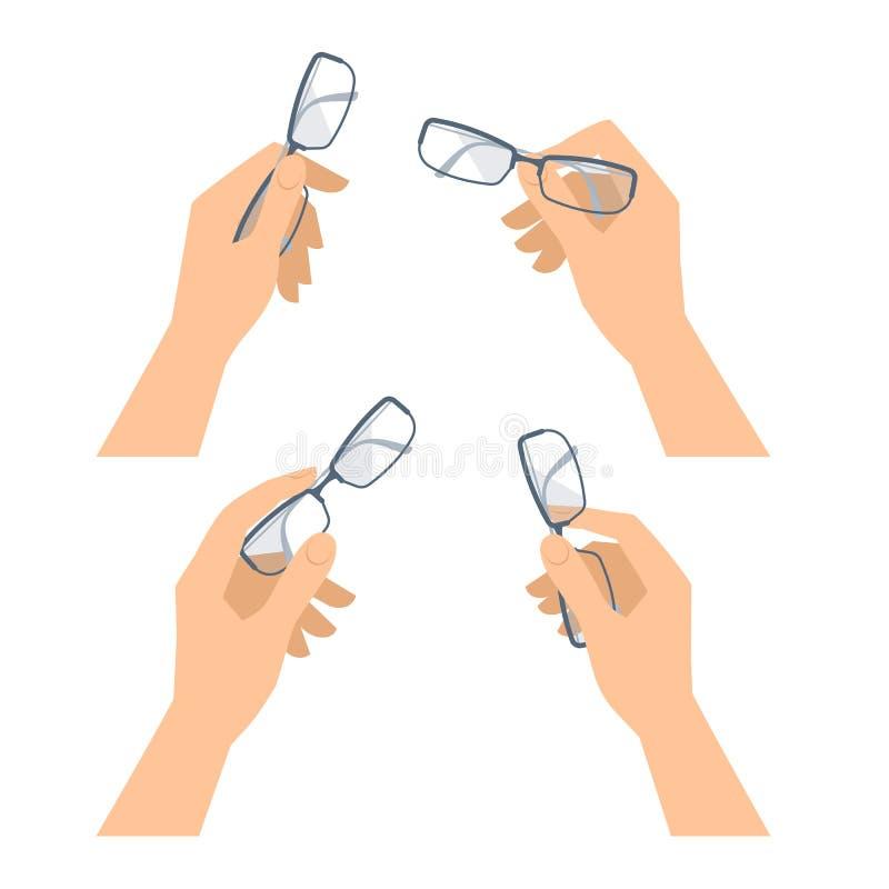 Человеческая рука при установленные стекла Дело и illustr концепции офиса иллюстрация вектора