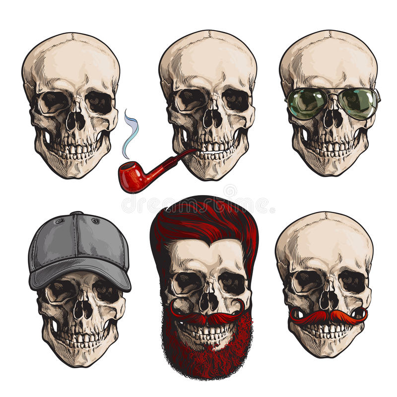 Человеческие косточки черепа с солнечными очками, бородой, усиком, куря трубой иллюстрация штока