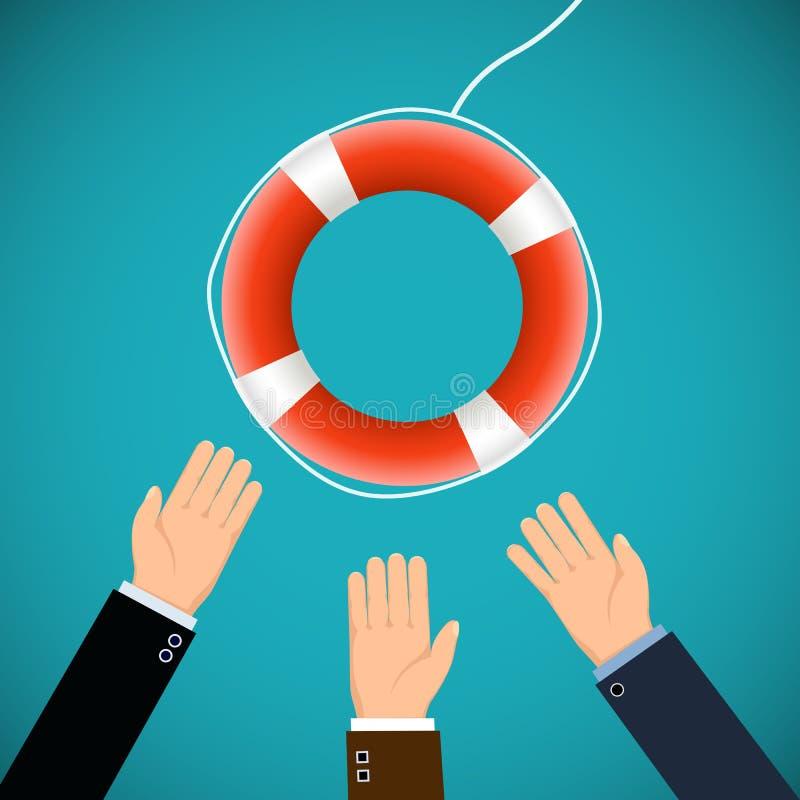 Человеческие руки и lifebuoy Спасать жизни illustrat запаса бесплатная иллюстрация