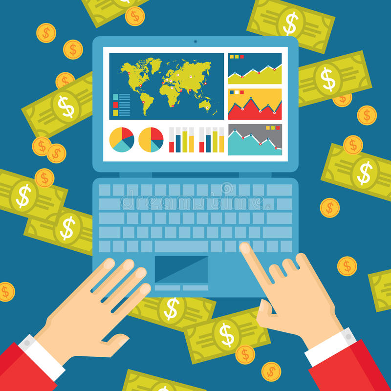 Человеческие руки с тетрадью, Infographics и долларами денег - иллюстрации тенденции дела иллюстрация штока