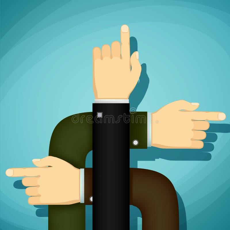 Человеческие руки указывают палец направление Шарж вектора запаса иллюстрация штока