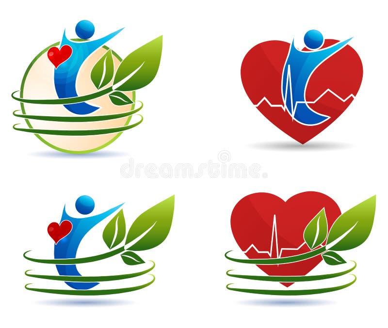 Человеческие символы здравоохранения, здоровая концепция сердца иллюстрация вектора