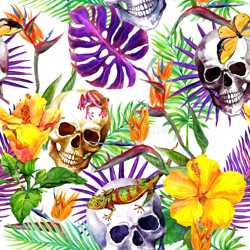 Человеческие черепа, тропические листья, животные джунглей, экзотические цветки повторять картины акварель иллюстрация штока