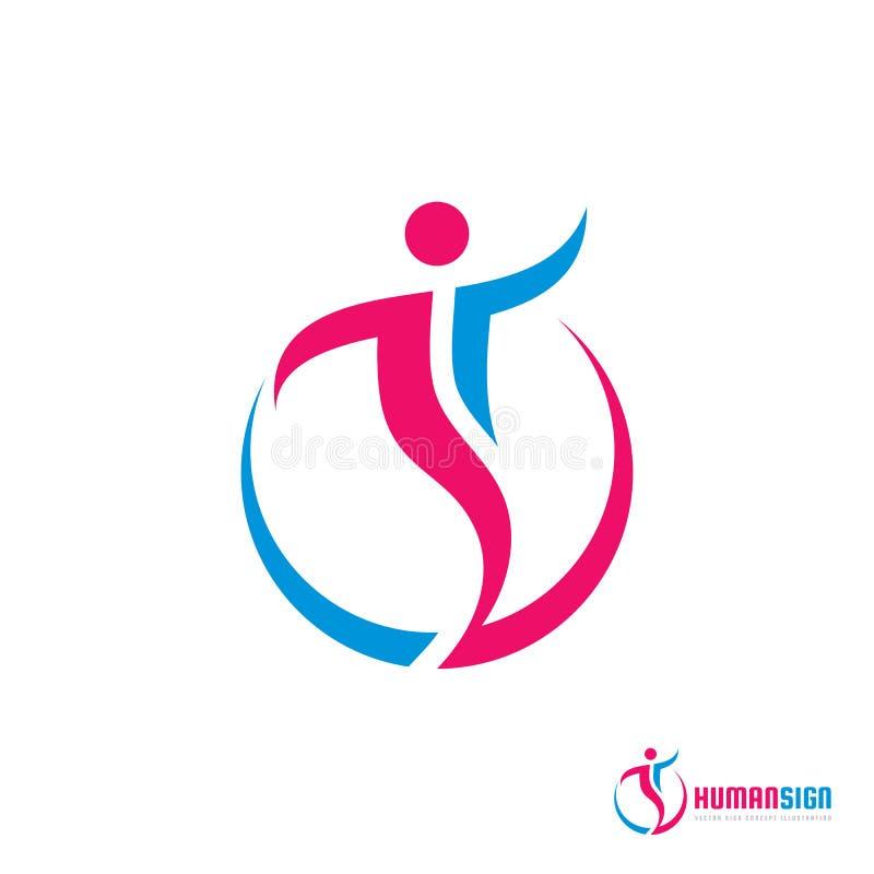 Человеческий знак характера - vector иллюстрация концепции шаблона логотипа Абстрактная диаграмма человека знак людей вектор изоб иллюстрация штока