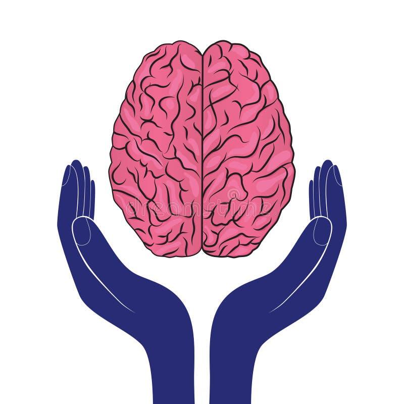 Человеческий мозг вектора знака психических здоровий как концепция иллюстрация вектора