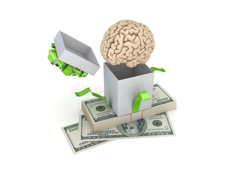 Человеческий мозг на подарочной коробке бесплатная иллюстрация