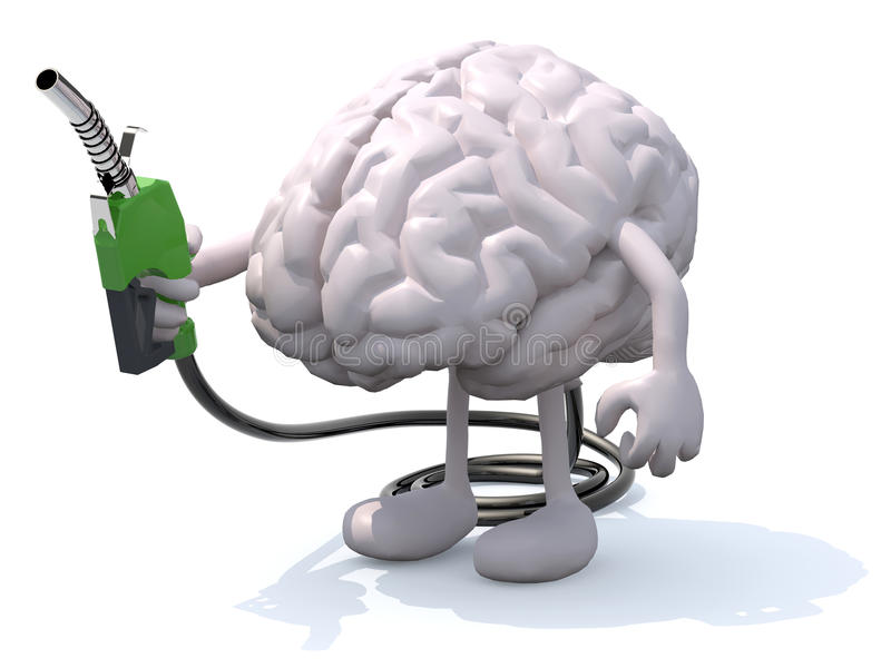 Человеческий мозг с оружиями, ногами и насосом для подачи топлива в руке иллюстрация штока