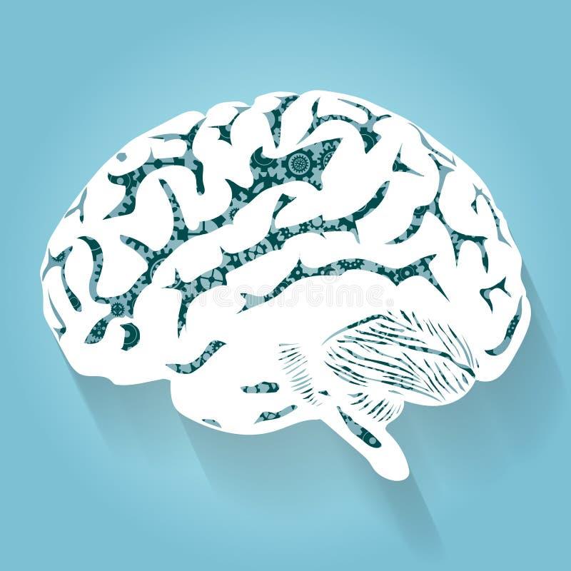Человеческий мозг с шестернями Вектор для вашего дизайна иллюстрация вектора