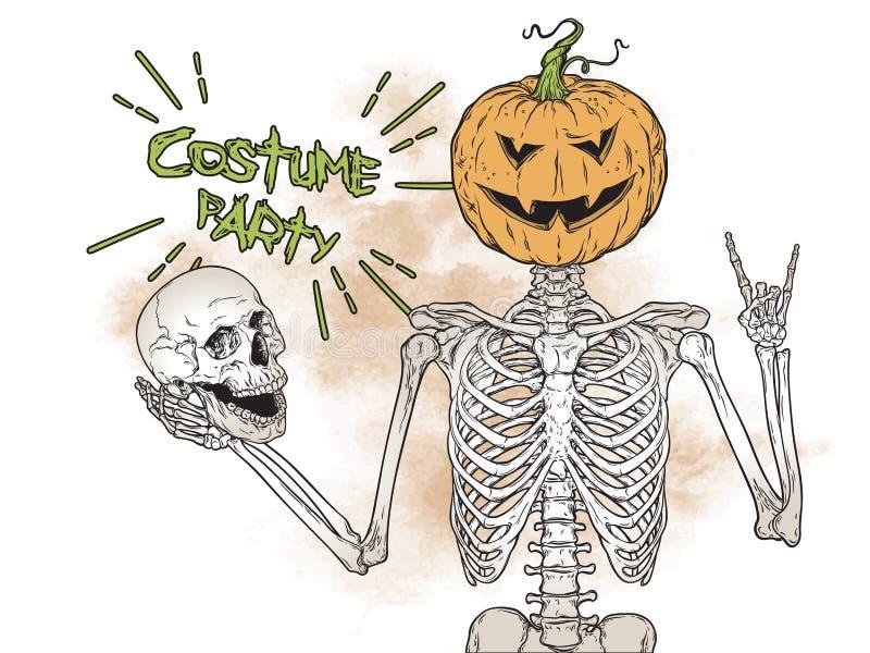 Человеческий скелет с тыквой хеллоуина вместо головы представляя над иллюстрацией вектора предпосылки grunge Костюм хеллоуина иллюстрация вектора