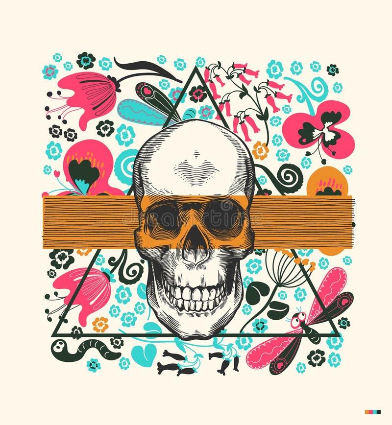 Человеческий череп нарисованный в винтажном стиле гравировки, просвечивающем оранжевом диапазоне и треугольнике на предпосылке с  иллюстрация штока