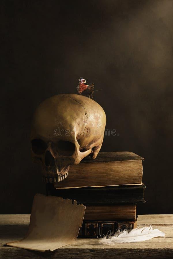 Человеческий череп с бабочкой и пустой страницей с пером стоковые фото