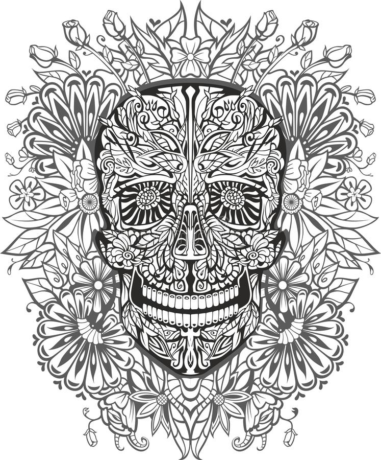 Человеческий череп сделанный из цветков иллюстрация штока