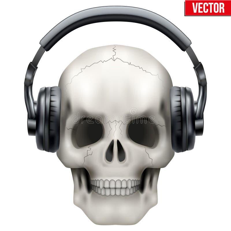 Человеческий череп с наушниками бесплатная иллюстрация