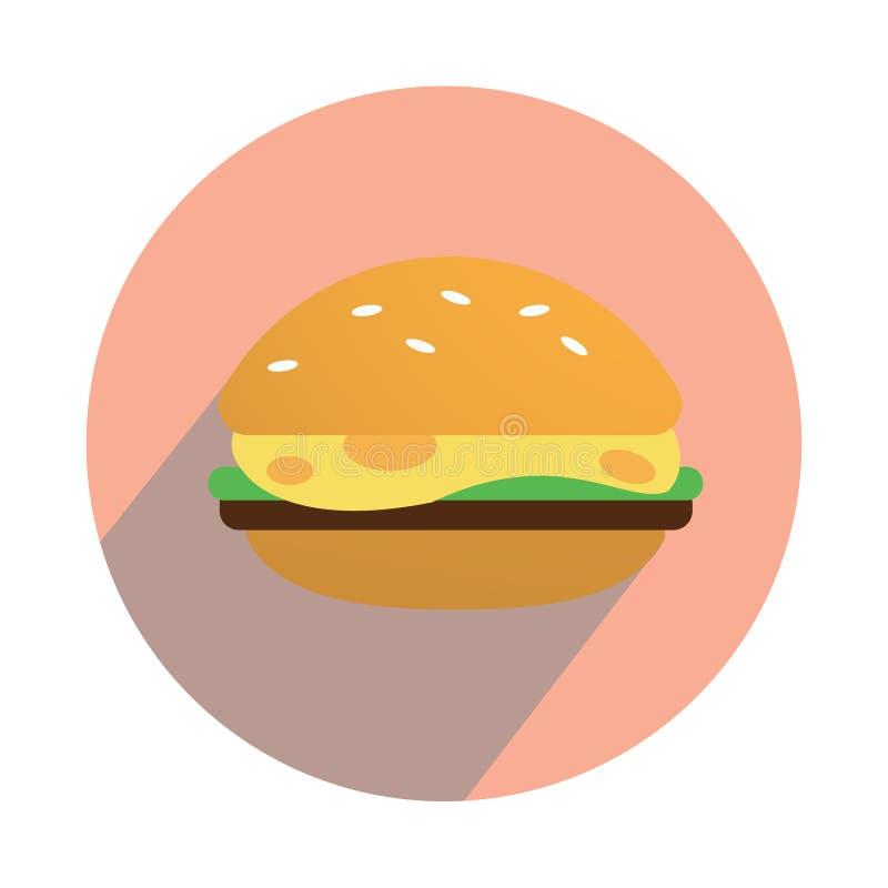 Чизбургер на белой предпосылке плоско иллюстрация вектора