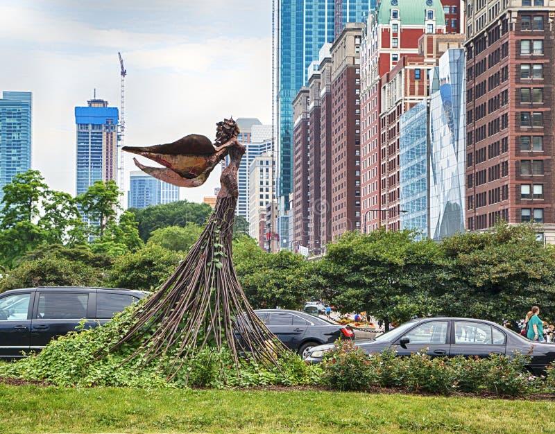 Чикаго, Иллинойс, США - 15-ОЕ ИЮЛЯ 2018: Скульптура Magdalene расположена на пересечении бульвара конгресса и бульвара Мичигана стоковое изображение rf
