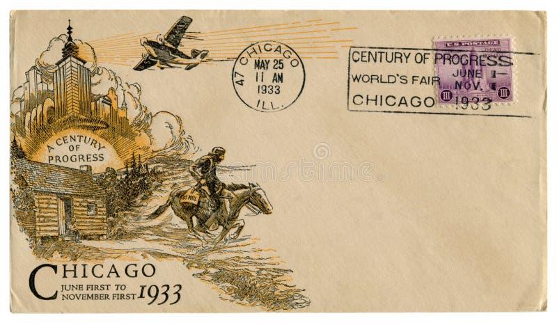 Чикаго, Иллинойс, США - 25-ОЕ МАЯ 1933: Конверт США исторический: предусматрива со столетием печати a искусства прогресса, пурпур стоковое изображение rf