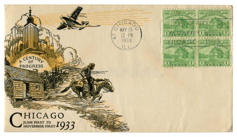 Чикаго, Иллинойс, США - 25-ОЕ МАЯ 1933: Конверт США исторический: предусматрива со столетием печати a искусства прогресса, зелено стоковые изображения rf