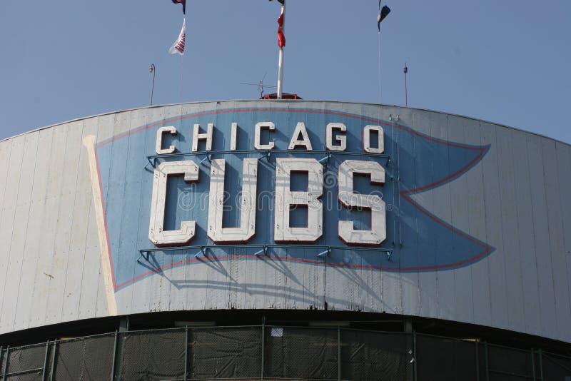 Чикаго - сентябрь 2008: Шатёр Чикаго Cubs на поле i Wrigley стоковое изображение