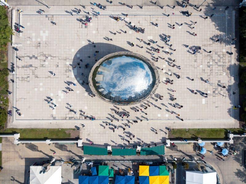 ЧИКАГО, США - 1-ОЕ ОКТЯБРЯ 2017: Вид с воздуха парка тысячелетия с стоковое изображение rf