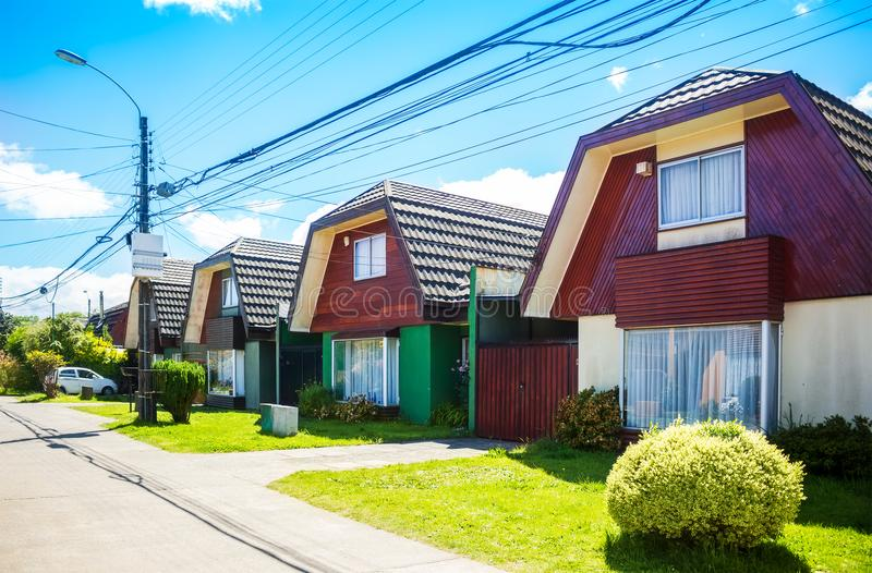 Чилийские дома в Valdivia стоковые изображения