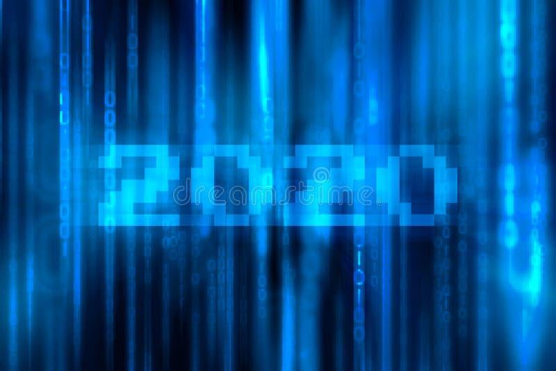 Численное 2020 с падая случайными номерами Голубая предпосылка матрицы Поток десятичных разрядов & x28; С Новым Годом! концепция  стоковое изображение