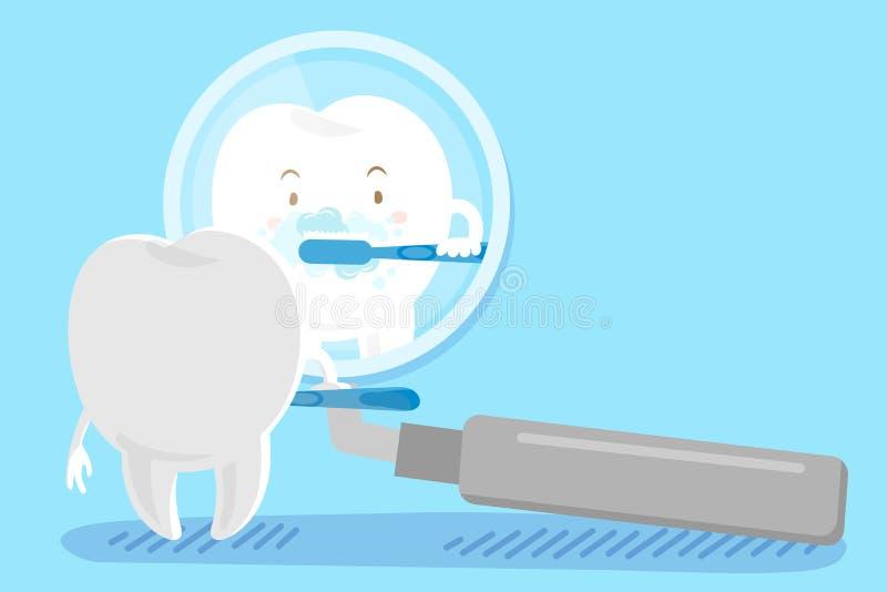 Чистить щеткой зуба шаржа иллюстрация вектора