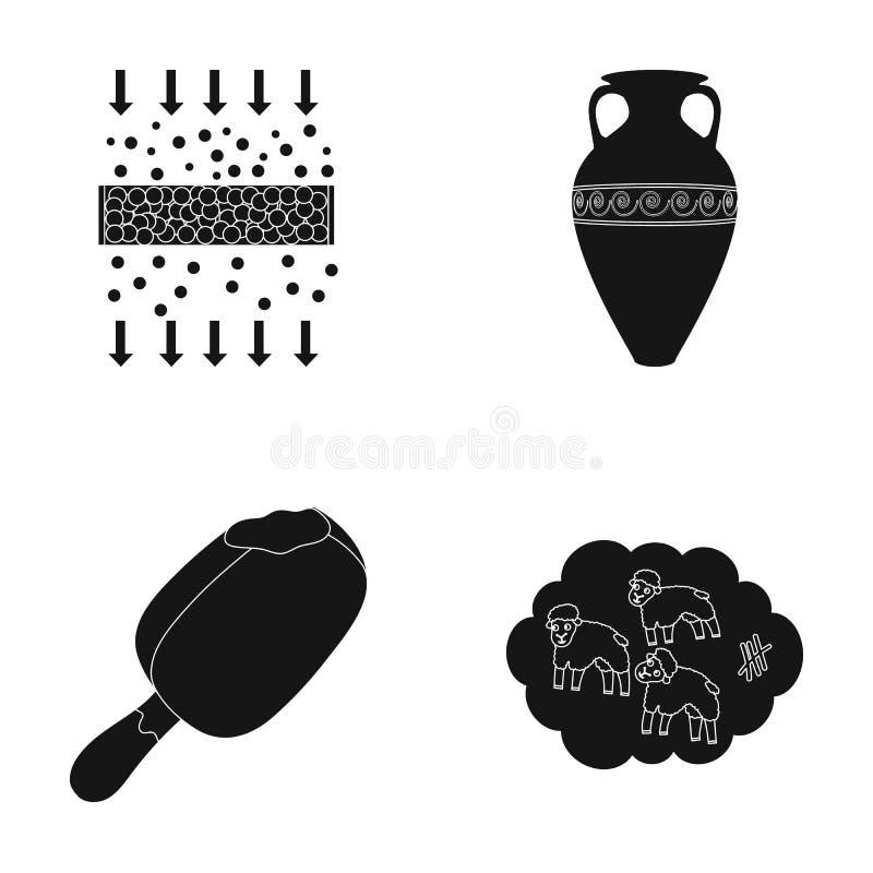 Чистка, еда и или значок сети в черном стиле история, значки сна в собрании комплекта бесплатная иллюстрация