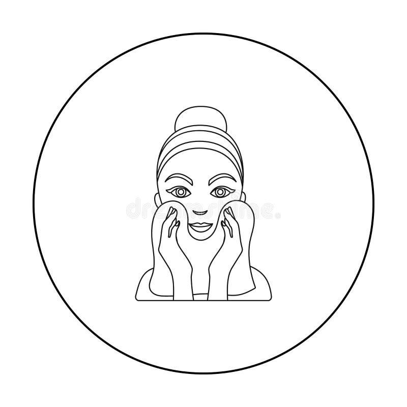 Чистка значка кожи стороны в стиле плана изолированного на белой предпосылке Иллюстрация вектора запаса символа заботы кожи иллюстрация вектора