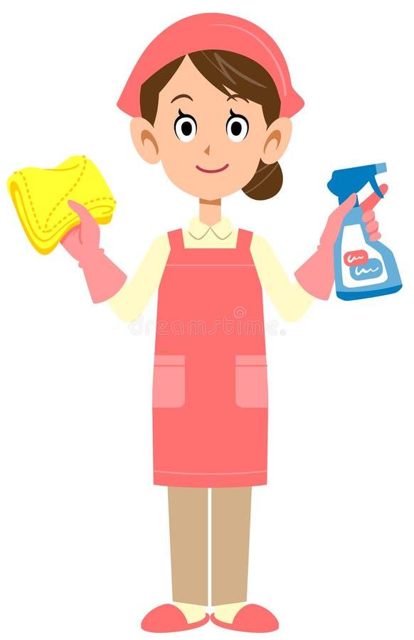 Чистка и домоустройство женщины, или обслуживание домоустройства иллюстрация вектора